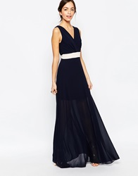 Wal G Maxi Dress With Contrast Band Blushnavy