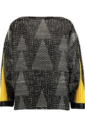 Vionnet Leather Trimmed Stretch Wool Boucle Top Black