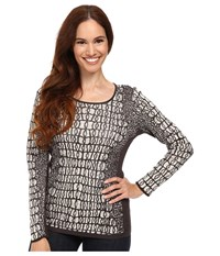Nic Zoe Petite Tiled Jacquard Top Sandshell Mix Women's T Shirt Gray