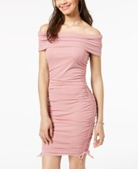 Material Girl Juniors' Off The Shoulder Bodycon Dress Created For Macy's Mauve Mist