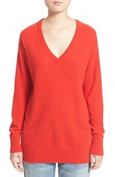 Women's Equipment 'Asher' V Neck Cashmere Sweater Cherry Red