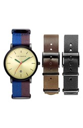 Ted Baker Men's London 'Smart Casual' Leather And Canvas Strap Watch Set 40Mm Blue Brown Black