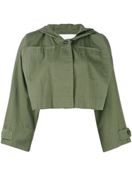 Alexander Wang Cropped Military Jacket Women Cotton S Green