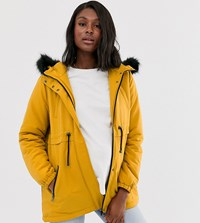 Mamalicious Maternity Faux Fur Hooded Short Parka In Mustard Yellow