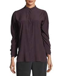 Zero Maria Cornejo Ruched Sleeve Band Collar Blouse Wine