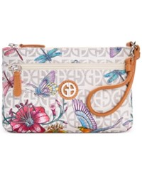 Giani Bernini Floral Bird Print Signature Wristlet Only At Macy's White