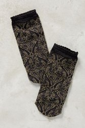 Anthropologie Shimmered Gold Crew Socks Black Motif