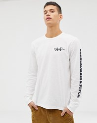 Abercrombie And Fitch Sleeve Logo Long Sleeve Top In White