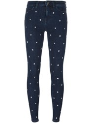 Love Moschino Star Studded Skinny Jeans Blue