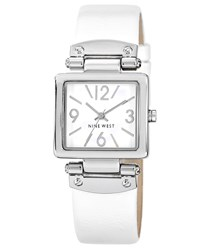 Nine West Square Dial White Pu Strap Watch White