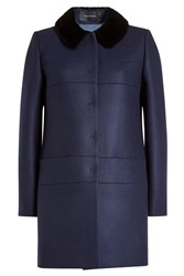 Tara Jarmon Coat With Wool Cashmere And Faux Fur Collar Blue