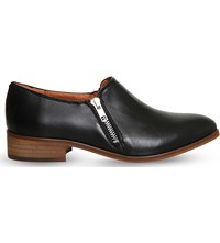 Office Lex Zipped Leather Loafers Black Leather
