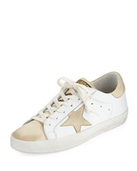 Golden Goose Star Embellished Leather Sneaker White Gold White Gold
