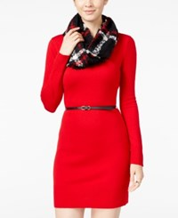 Amy Byer Bcx Juniors' Belted Sweater Dress With Scarf Red