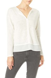 Sanctuary Women's 'Hanna' Split Neck Knit Top Creme