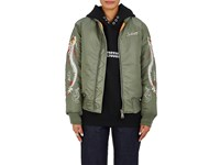 Andersson Bell Women's Dragon Embroidered Bomber Jacket Dark Green