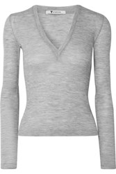 Alexander Wang T By Ribbed Wool Sweater Gray Usd