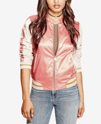 Guess Vanessa Embroidered Bomber Jacket Pale Lilac Multi