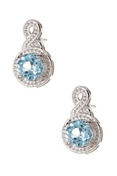 Olivia Leone Sterling Silver Round Cut Blue Topaz Teardrop Earrings