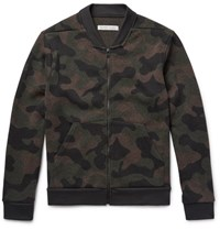 Outerknown Cacade Camouflage Wool Blend Bomber Jacket Army Green