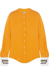 Maiyet Beaded Silk Crepe Blouse Orange