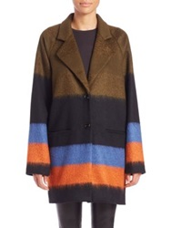 Suno Striped Wool Blend Coat
