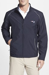 Men's Big And Tall Cutter And Buck 'New England Patriots Beacon' Weathertec Wind And Water Resistant Jacket Navy Blue