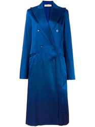 Nina Ricci Long Double Breasted Coat Blue