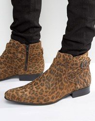 House Of Hounds Albion Leopard Jodphur Boots Tan