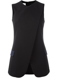 Paul Smith Crossover Front Sleeveless Blouse Black