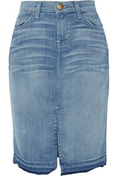 Current Elliott The High Waist Stretch Denim Pencil Skirt Mid Denim