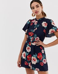 Oasis Playsuit With High Neck In Floral Print Multi