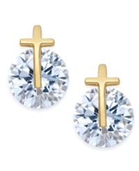 Giani Bernini 18K Gold Plated Sterling Silver Cross And Cubic Zirconia Stud Earrings Only At Macy's