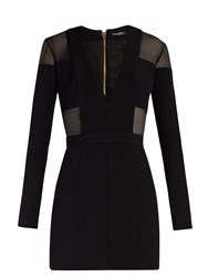 Balmain Sheer Panelled Double Crepe Mini Dress Black