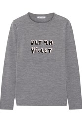 Bella Freud Ultra Violet Intarsia Merino Wool Sweater Gray