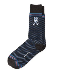 Stripe And Pin Dot Socks Gray Psycho Bunny