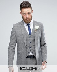 Only And Sons Skinny Wedding Square Hem Suit Jacket In Dogstooth Navy