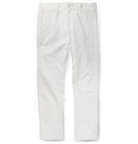 Ann Demeulemeester Slim Fit Slubbed Woven Trousers White