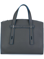 Furla Logo Plaque Tote Grey