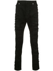 Balmain Destroyed Jeans Cotton Polyurethane Black