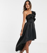 True Violet Frill One Shoulder High Low Prom Maxi Dress In Black