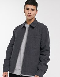 Weekday Ahmed Checked Overshirt In Dark Grey