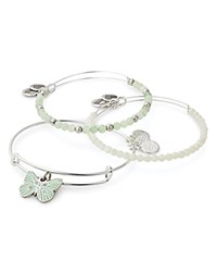 Alex And Ani Butterfly Expandable Wire Bangles Set Of 3 Green Silver