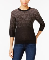 Ny Collection Petite Ombre Metallic Sweater Rose Gold
