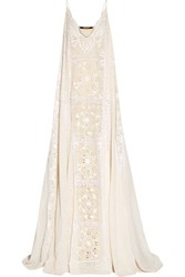 Roberto Cavalli Lace Trimmed Broderie Anglaise Silk Chiffon Gown Ivory