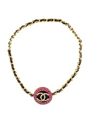 Chanel Vintage 95P Large Cc Rhinestone Pendant Chain Necklace Multicolour