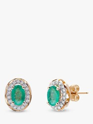 A B Davis 9Ct Gold Emerald And Diamond Oval Stud Earrings