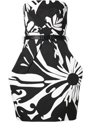 Kaufman Franco Kaufmanfranco Monochrome Print Strapless Dress Black