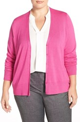 Plus Size Women's Sejour V Neck Cardigan Pink Cyclamen
