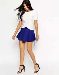 Ax Paris Quilted Skater Skirt Blue